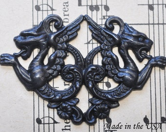 Double gargoyle brass stamping, Black satin finish, Gothic Jewelry, Jewelry Supplies and Findings Made in the USA