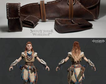 Horizon Zero Dawn Aloy Cosplay Leather Quiver and Pouches (replica) / LARP equipment / geek / postapocalypse / custom size