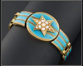 Antique Victorian Bracelet | Blue Enamel Victorian Bracelet | 18k Gold Antique Bracelet | Turquoise Enamel Bracelet