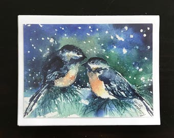 Fine Art Watercolor Image Print Made into Christmas Cards W/verse , Chickadee Bird on Pine Tree on a Snowy Night,Content by Janet Dosenberry