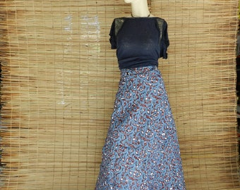 Long skirt XXL long trapeze, gray and red, African wax fabric, one size L to XXL