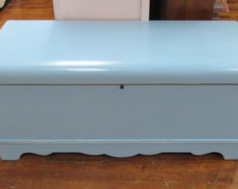 Cedar Lined Blank Chest Waterfall style painted blue