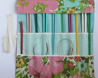 Knitting Needle Organizer, Knitting Needle Case, Knitting Accessory, Vintage Springtime Floral by Knotted Nest