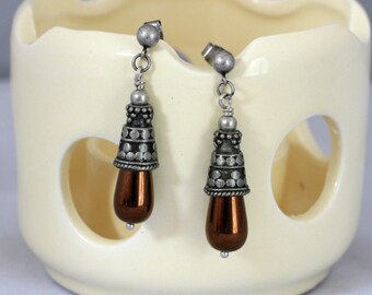 Antiqued Silver and Copper Dangling Post Earrings, Copper Earrings, Drop Earrings,  Dressy Earrings, Mother's Day