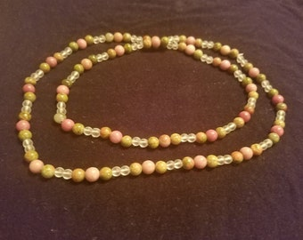 Healing Crystal Infinity Necklace - Unakite and Rhodochrosite
