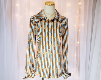 Vintage - Long Sleeve Shirt - By Devon - Geometric Print in Browns and Blues - 70s/80s - Never Worn - New Old Stock