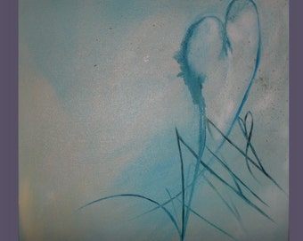 Original Contemporary Abstract Heart Painting on Canvas  A Caring Heart 24x24 RESERVED FOR SUSAN