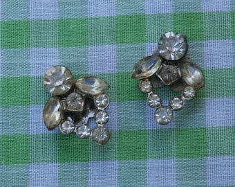 Vintage Rhinestone Shoe Clips Small Pair with Fold over Clips
