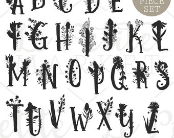 Hand Drawn Floral Letters Alphabet Clip Art, Printable Nursery Art, Printable Monogram Letters, Floral Letter Clipart, Letters and Flowers