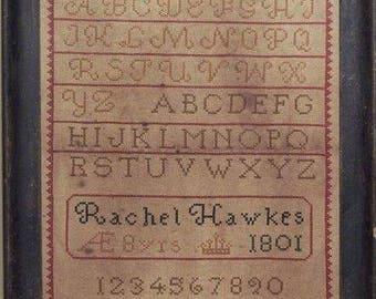 Primitive cross stitch, sampler chart/pattern,primitive needlework, band sampler, schoolgirl sampler, early American, Rachael Hawkes
