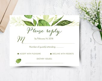 Greenery Wedding RSVP Card, Botanical, INSTANT DOWNLOAD, Green leaf, Printable, Response Card, Template, Evergreen 1701 Collection