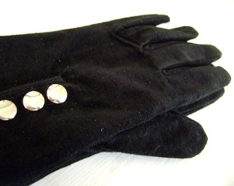 Black Suede Button Up Gloves