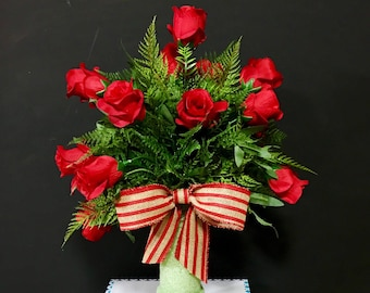Cemetery flowers for vase grave decoration, headstone flowers for vase, grave decoration, roses for cemetery vases