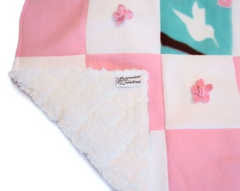 Baby Blanket, Fleece blanket, security blanket, lovey blanket, nursing blanket, baby gift