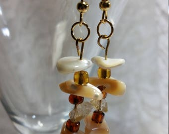 Gold Earrings, Stone Earrings, Glass bead earrings, citrine earrings, white shell earrings, mother of pearl earrings, SAME DAY SHIPPING