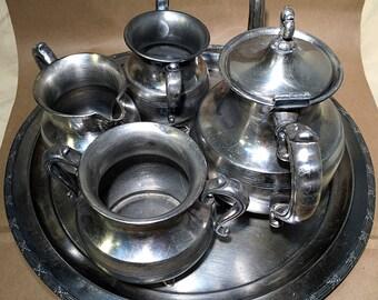 Silver Plate Tea Set - Coffee Set - Silver Teapot