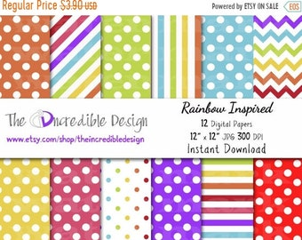 ON SALE Rainbow Inspired digital paper pack for scrapbooking, Making Cards, Tags and Invitations, Instant Download