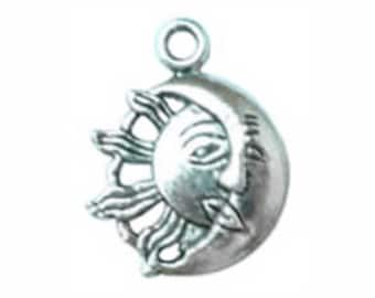 5 Silver Crescent Moon and Sun Charm Pendant 27x21mm by TIJC SP0306