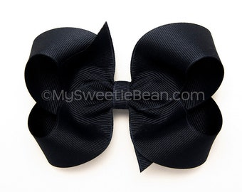 Navy Hair Bow for School Uniforms, 4 inch Boutique Bow, Girls Hairbow, Basic Hairbow, Back to School Uniform, Dark Navy Bow for Girls