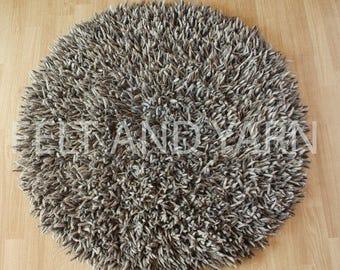 140 cm  Felt natural round shag rug,
