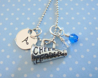 Cheerleader Necklace with Hand Stamped Initial Disc and Megaphone Charm // gifts for cheerleaders // cheer gifts // cheerleader charm