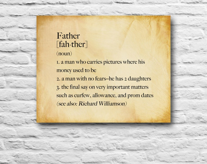 Funny Gift For Dad Christmas Idea Father's Day Definiton Grandpa Unique  Print Gift Family, Grandfather, Dad, From Daughter, Personalized