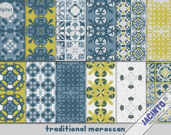 """Traditional Moroccan digital printable paper set 12x12"""", scrapbooking paper, instand download, wrap paper"""