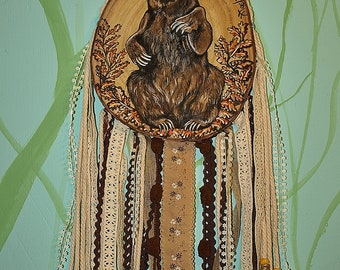 Bear, hand painted on wood, dreamcatcher.