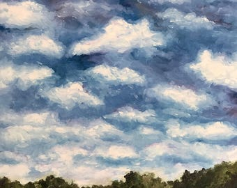 Clouds. Print of Original Painting. Cloud Painting, Sky Painting, Landscape, Reflection, Trees, Wall Art.