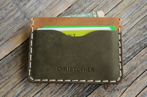 PERSONALIZED Dark Green and Tan Leather Wallet. Credit Card, Cash or ID Holder. Unique Unisex Pouch.