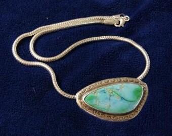 Blue Green Sea Sediment Jasper Freeform Pendant