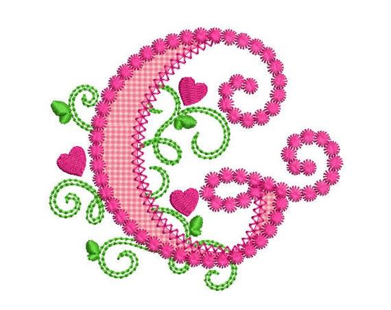 cute letter g alphabet for lil princess hearts applique