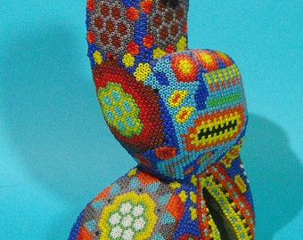 Amazing Huichol Native Intricately Beaded Parrot Made in Mexico