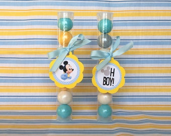 Oh Boy! Mickey Gumball Tube Party Favors / Supplies - Set of 12 (Baby Shower / Boy's Birthday / It's a Boy!)
