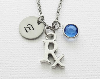 Rx Necklace, Pharmacist, Prescription, Pharmacy, Medicine, Swarovski Birthstone, Personalized, Monogram, Hand Stamped, Silver Letter Initial