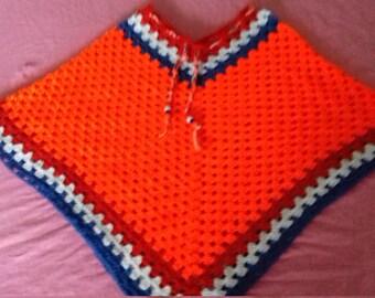 Orange Crochet Kids Poncho