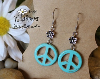 Turquoise Peace Sign Earrings, Peace Sign Earrings, Peace Earrings, Peace and Flower Earrings, Turquoise Silver Earrings, Peace Sign, boho