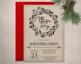 Christmas Invitation Printable, Printable Tis the Season Invite, Rustic Christmas Invitation Template, Instat Download, WLP531
