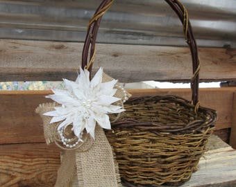 Rustic Flower Girl Basket, Flower Girl Basket, Wedding Basket, Flower Basket, Burlap Flower Girl Basket, Rustic Wedding, Flower Girl