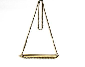 Brass Bar Necklace-Bar Brass Necklace-Minimalist Statement Necklace -Modern Handcrafted Jewelry-Long Chain Necklace-Oxidized