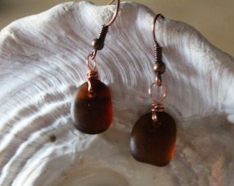 Amber Brown Sea Glass Drop Earrings