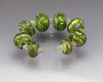 Green lampwork bead set Green lampwork set Green beads handmade glass beads Green lampwork Green bead set Sea Rocks  by Anne Londez SRA