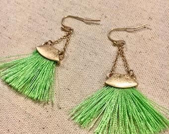 Green Fan Tassel Gold Earrings
