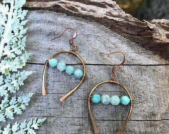 Earrings - Hammered Copper & Amazonite