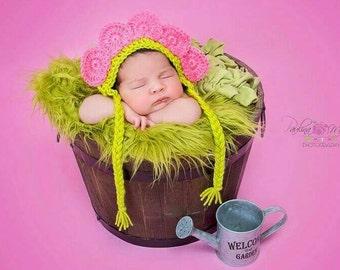 Newborn Crochet Outfit Girl Flower Hat