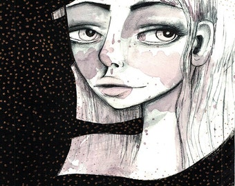 Medium Sized Fine Art Print - 'Jenna' - Artwork by Jessica von Braun - big eye art - 8x10, 8.5x11, 11x17, 13x19, 12x16