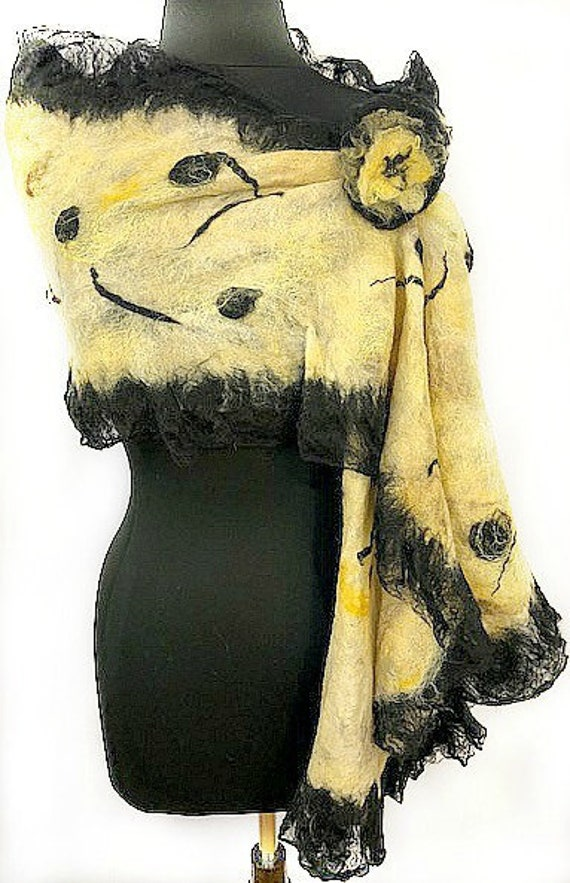 Felted Scarf, Women's Felted Wrap, Long scarf, Women's Accessories, Black and Gold, Nuno Felted Scarf, GiftForHer, Graceful Ewe Fiber Arts,