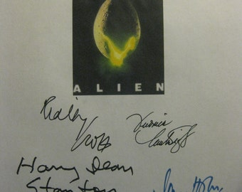 Alien Signed 1979 Film Movie Script Screenplay Autographs Ridley Scott Tom Skerritt Sigourney Weaver Veronica Cartwright John Hurt Ian Holm