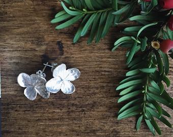 Sterling silver hydrangea flower earrings, flower stud earrings, christmas gift for her