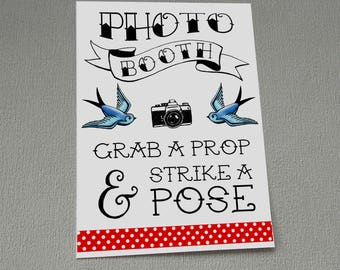 Rockabilly Photo Booth Sign Wedding Tattoo Swallows Polka Dots Decoration Strike a Pose